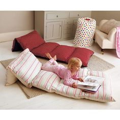 Sew 5 pillowcases together, insert pillows, and you have a cozy floor cushion/ sleeping bed. This would be great for later on when the kids have sleepovers.