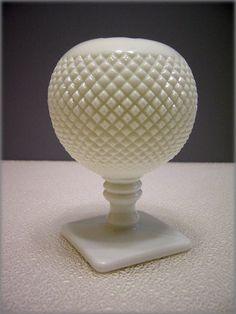 Westmoreland milk glass ball ivy vase