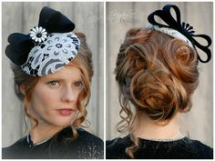 Black and White Fascinator Hat by Jaya Lee Designs