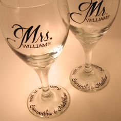 Wedding Wine Glasses / Mr & Mrs / personalized by svcalligraphy, $40.00
