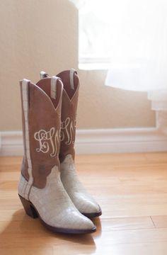 Monogrammed cowboy boots.