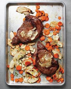 recipe: Rib Eye with Horseradish Butter and Root Vegetables