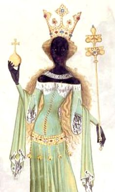 'The Queen of Sheba' fresco from sometime in the 1100s-1200s at the rock churches of Lalibela, Ethiopia.