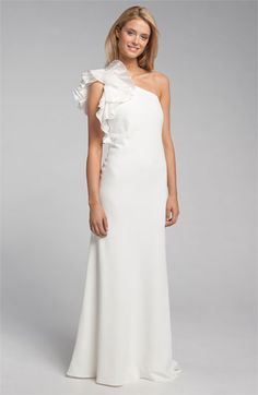 Carmen Marc Valvo One Shoulder Ruffle Crepe Gown via @Nordstrom #wedding