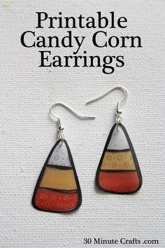 Printable Candy Corn Earrings