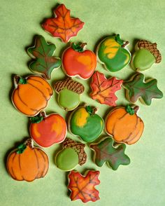 fall cookies, sugar cooki, autumn sugar, thanksgiv, fall mini, autumn food, pumpkin, cookie decorating, mini cooki