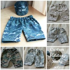 United States Military Baby/Infant Hat and Pants Set: Photo prop baby shower gift $30 at The Sailor's Lady