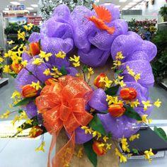 diy wreath, spring wreath, mesh wreaths