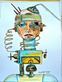 steampunk drawing in watercolor and ink by Mary Vogel Lozinak  art illustration