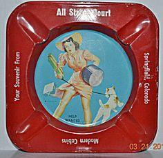 Vintage Tin Litho Gil Elvgren Pin-up Advertising Ashtray