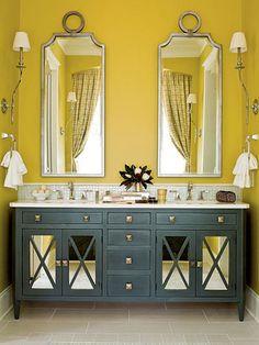 yellow walls, mirrors