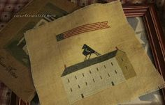 Patriotic freebie Notforgotten Farms 32 count random coffee stained linen DMC threads as specified