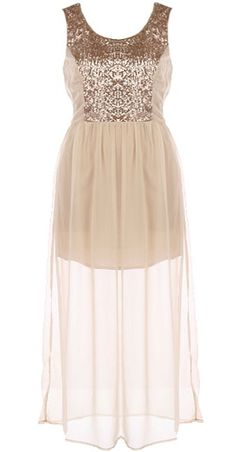 Champagne Soiree Dress: Features a glittering gold sequin bodice elegantly paneled at the sides, flowing champagne chiffon skirt with inner liner for no show-through, and a hidden side zip closure finish.