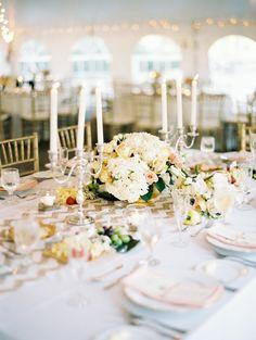 Love the gold candelabra addition!  Read More: http://www.stylemepretty.com/2014/02/20/williamsburg-virginia-wedding/