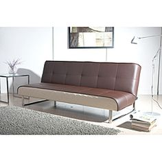 Seattle Brown and Cream Futon Sofa Bed, Overstock