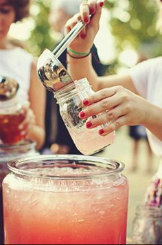 drink bar with mason jars with Sweet Tea, Summer Lemonade and Sangria!!