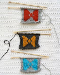 You can #knit actual #bowties or you can knit them using the #intarsia technique