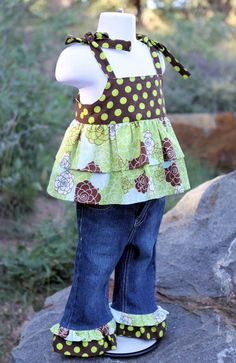 READY TO SHIP Size 12 Month Green and Brown by MReeseDesigns, $49.95