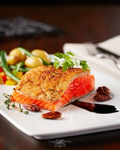 Langara's own: Baked Salmon with Pecan Crust and Pinot Noir Reduction ...