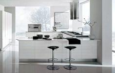 Sleek modern white kitchen