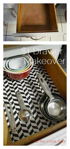 $1 drawer makeover
