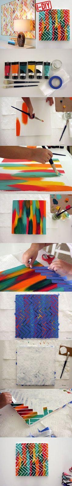 wall art, canvas paintings, tape art, diy canvas, diy artwork