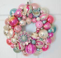 Vintage Shiny Brite Ornament Wreath by georgiapeachez