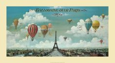 vintage posters, paris, benjamin lane, art prints, travel poster, pari print, art posters, hot air balloons, vintage art