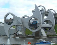 Falkirk Wheel, Rotating boat lift connecting the Forth and Clyde Canal with the Union Canal in Scotland
