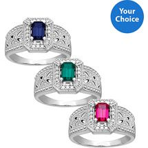 Walmart: Sterling Silver Created Gemstone and Diamond Accent Ring-Size 7, Your Choice,