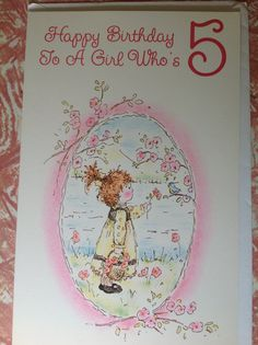 For A Girl Who's 5 card Happy birthday by VioletnDaisyVintage, $4.00