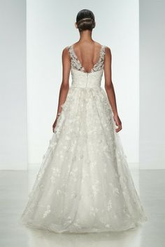 "Amsale Spring 2015 ""Drake"" gown back. Embellished natural waist ballgown with crystal hand-beading and silk flowers."