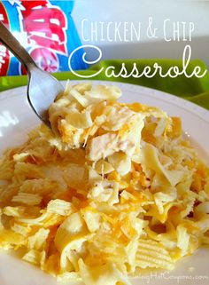 Chicken and Chip Casserole Recipe - 2 cans of Cream of Chicken or Cream of Mushroom soup  1 can of chicken or you can use tuna 2 cans of milk (fill the soup can with milk)  1 bag of Ruffles Chips  2 cups grated cheese  1 cup sour cream  1 bag of egg noodle pasta