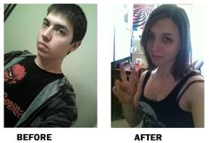 Transgender MTF Before and After | Ashley's before & after pic, 1 year hormone mark, MTF transgender ...