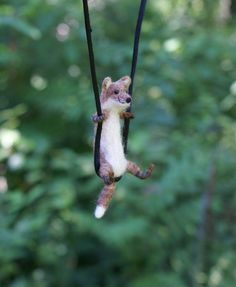 Tiny Fox necklace - needle felted