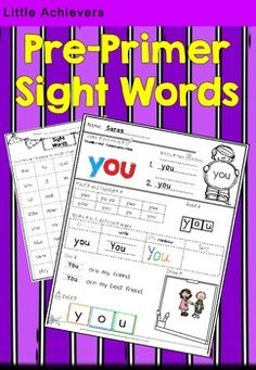 Sight Words: Pre-Primer List