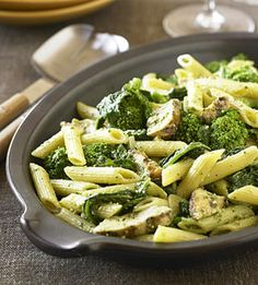 Penne Pesto with Chicken  An aromatic pesto sauce is the highlight of this pasta and chicken recipe. Just five ingredients and a preparation time of less than 30 minutes makes this a smart week-night dinner idea.