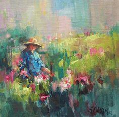 Garden Plans  oil painting  Mary Maxam
