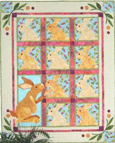 """Hare's Lookin At You"" bunny quilt pattern by Karen Brow at Java House Quilts hare lookin, bunni quilt, anim quilt, babi quilt, hous quilt, java hous, house quilts, quilt idea, easter quilt"