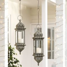 Buy At Home > New Arrivals > Hanging Antiqued Grey Lantern from The White Company