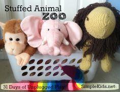 Day two:  Stuffed Animal Zoo (31 Days of Unplugged Play SimpleKids.net) Fun Activ, Anim Zoo, Animals, Toy Park, Stuf Anim, Unplug Play, Pretend Play, Zoos, Zoo 31