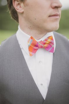 Obsessing over this pink #plaid bow tie | Photography: Elizabeth In Love | Design: http://www.kjandco.ca