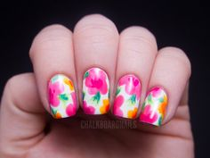 CHALKBOARD NAILS: CHINA GLAZE SUMMER NEONS NAIL ART: HAWAIIAN FLORAL - FOLLOW HER LINK TO THE VIDEO TUTORIAL TO SEE JUST HOW EASY THIS IS!