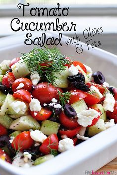 Tomato Cucumber Salad with Olives and Feta - skip the sugar