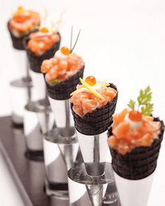 Salmon tartare and guacamole cones.