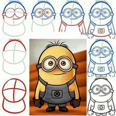 Draw a fuzzy-haired minion with goggles!