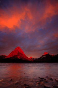Fire in the sky & Mountains Lake, Glacier National Park, Montana, USA, by Joe Dsilva Swiftcurrent