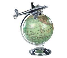 MiniStyle Vintage World Globe with Aeroplane