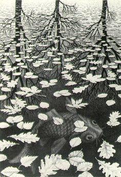 MC Escher,Three Worlds,1955