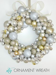 How to make your own DIY ornament wreath using only dollar store items!